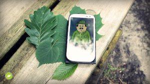Handy mit Blättern